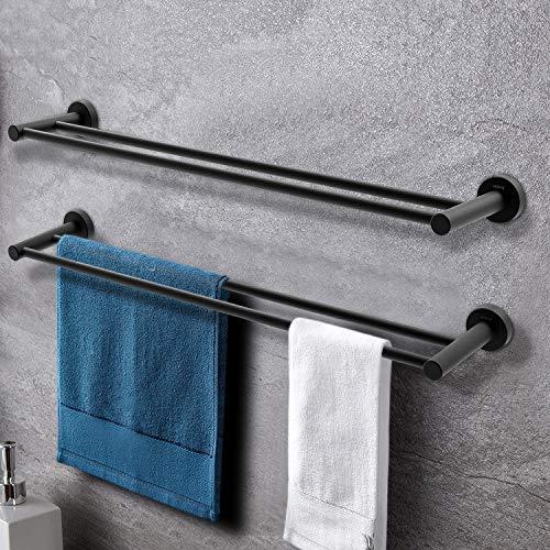 Doppelter Handtuchhalter MOKYU Badezimmer Handtuchstange 61cm für Wandmontage Handtuchhalter bad schwarz,2 Stück