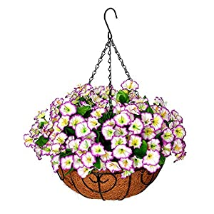 Homsunny Artificial Hanging Flowers in Basket Silk Flower with 12 inch Flowerpot Centerpieces,Fake Hanging Plants in Coconut Lining Hanging Basket for Outdoors Indoors Courtyard Decor (Light Purple)