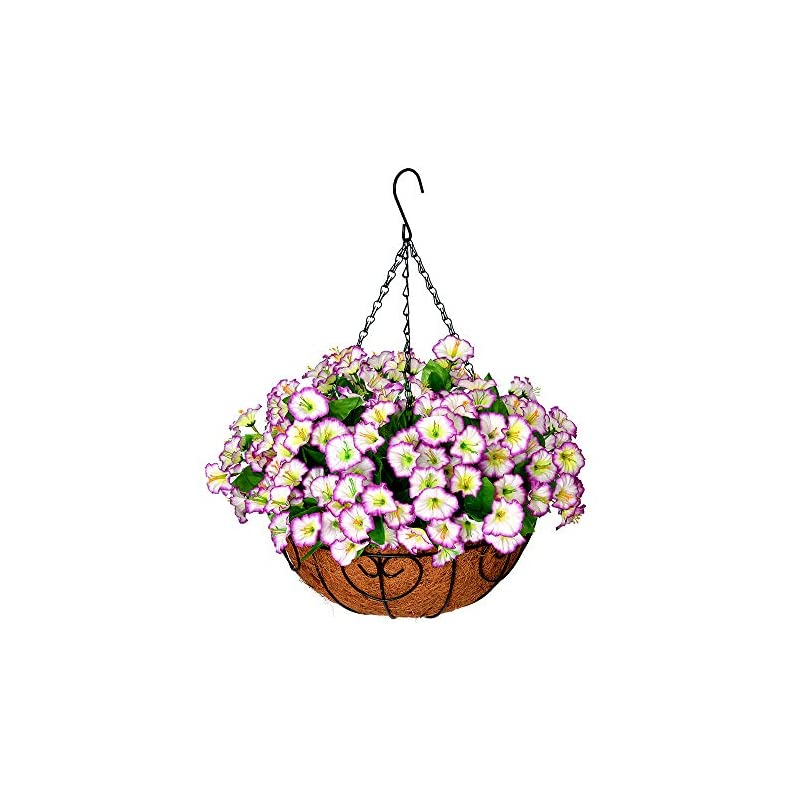 silk flower arrangements homsunny artificial hanging flowers in basket silk flower with 12 inch flowerpot centerpieces,fake hanging plants in coconut lining hanging basket for outdoors indoors courtyard decor (light purple)