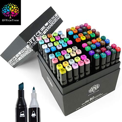 OfficeTree Marker Set 80 Stück - Twinmarker Faserstifte - Graffiti Stifte bunt zum Skizzieren Layouten Illustrieren Zeichnen Malen
