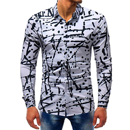 Camisas de Hombre,Hombre Moda Impresa Blusa Casual Camisas de Manga Larga Delgada Tops