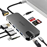 USB C Hub 10-in-1 Multiport Adapter,USB C Docking Station Portable Dongle Type C Hub Adapter with Ethernet Port,4K HDMI & VGA,USB 3.0 Ports, SD/TF Card Reader for MacBook/Pro/Air (Thunderbolt)