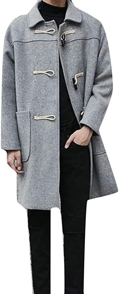 XiaoTianXinMen XTX Men's Toggle Pocket Lapel Neck Solid Overcoat Wool Blend Coat Jacket French Gray L