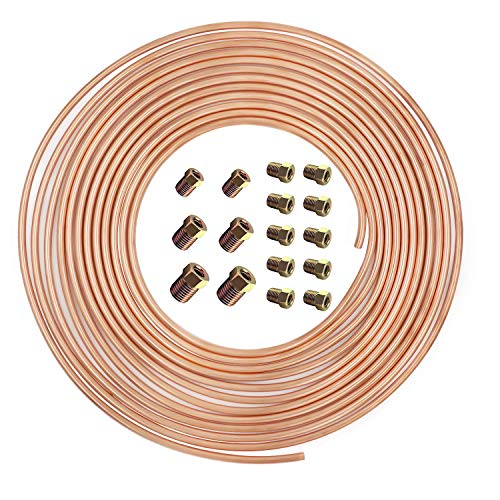 25 ft 3/16 Copper-Nickel Brake Line Kit Complete Replacement Brake or Fuel Tubing (Includes 16 Fittings), Easy to hand bend (.028) Wall Thickness, SAE Thread, Rust Proof