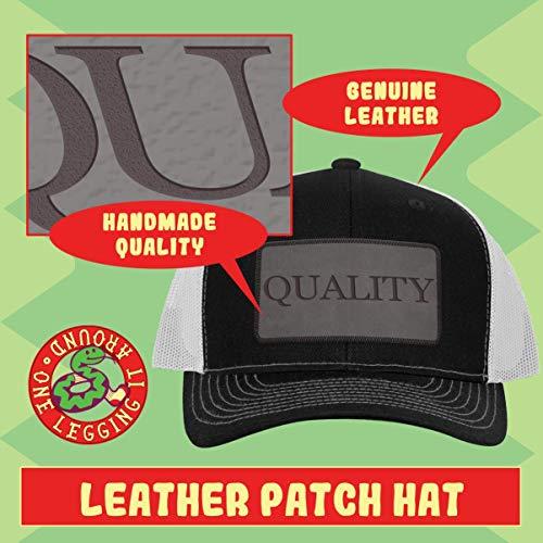 Bench Grinder AF - Leather Grey Patch Engraved Trucker Hat, Grey-Steel, One Size