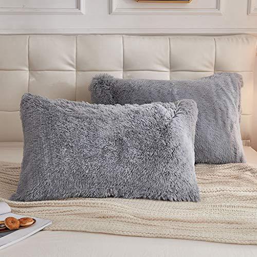 LIFEREVO 2 Pack Shaggy Plush Faux Fur Pillow Shams Fluffy Decorative Pillowcases Zipper Closure (Standard Queen Gray)