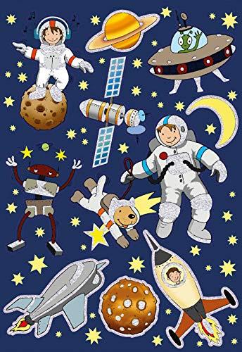 AVERY Zweckform Kinder Sticker 10 Aufkleber (extra groß, Weltall, Weltraum, mit Glitter, für Kinder zum Aufkleben, Kindergeburtstag, Mitgebsel, Gastgeschenke, Spiele, Schatzsuche) Art. 53251