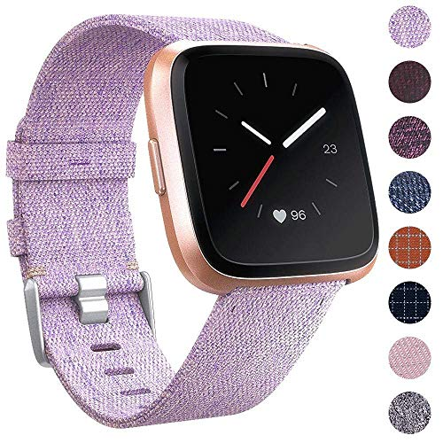 EZCO Compatible Fitbit Versa Bands, Woven Fabric Breathable Watch Strap Quick Release Replacement Wristband Accessories Compatible Fitbit Versa Smart Watch Women Man, Lavender