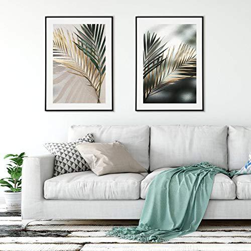 Golden Leaves Poster Drucke Palm Poster Wandkunst Mode Leinwand Malerei Wandbilder für Wohnzimmer Dekor 70X90cmx2pcs Rahmenlos
