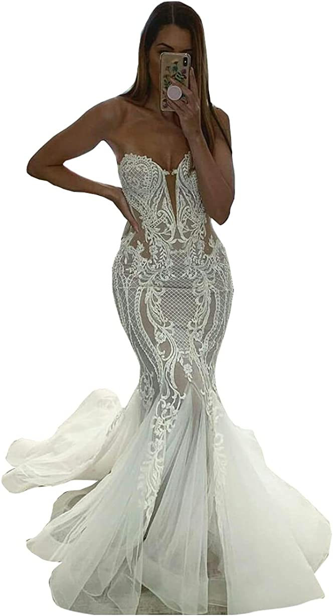Sweetheart Neckline Lace Corset Mermaid Bridal Ball Gowns Train Beaded Wedding Dresses for Bride 2021