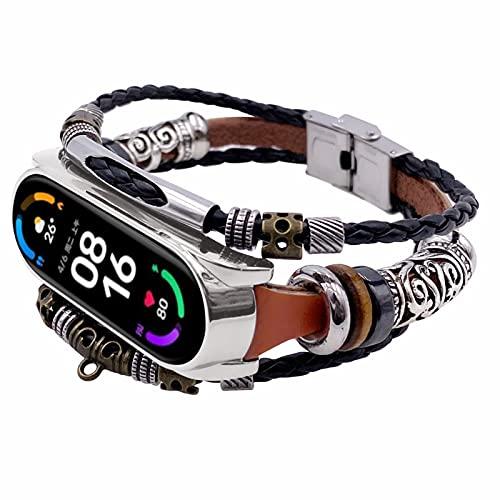Pulsera Mi 5 Watch, TechCode Nueva Correa de Reloj Retro con Cuentas Hecha a Mano, Correa de Repuesto de Estilo étnico de Metal Multicapa para Xiaomi Mi Band 6/ Mi Band 5 (C06)
