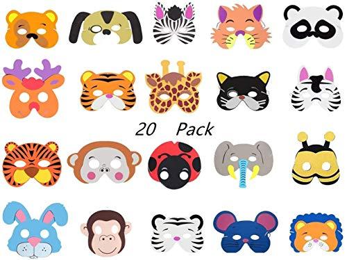 Tweal Máscaras de Animales,20 Piezas Máscaras de Espuma EVA para Niños para Cumpleaños Halloween Suministros de Fiesta de Navidad