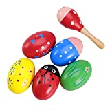 ultnice Maracas Egg Shakers con sonagli Strumenti Musicali di Legno Giocattolo per bambini...
