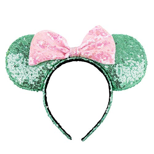 New 1 Pcs Green Mickey Minnie Mouse Ears Headbands Pink Bow Hoop Hair Accessories Glitter Sequin Pri...
