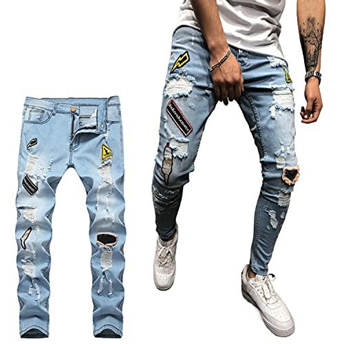 Geagodelia Jeans Strappati Uomo Stretti Pantaloni in Denim Slim Fit Vita Alta Jeans Uomo Elasticizzati Ricamo Casual Hip-Hop S-3XL Ragazzo Regalo (Blu Chiaro, Medium)