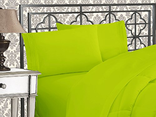 Elegant Comfort 81RW-3Line-Q-Lime Luxurious 1500 Thread Count Egyptian Three Line Embroidered Softest Premium Hotel Quality 4-Piece Bed Sheet Set, Queen, Lime