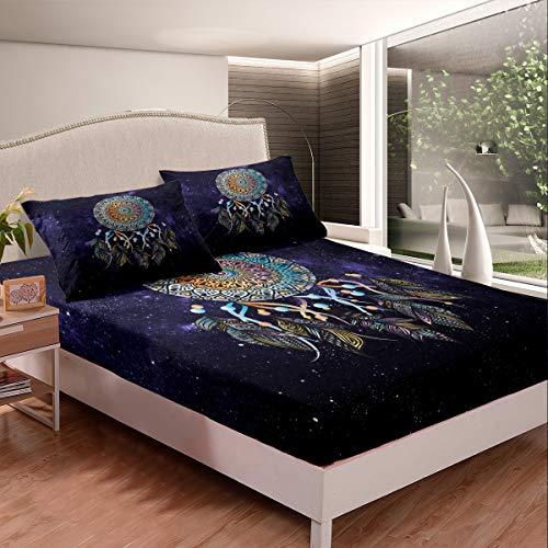 Dream Catcher - Sábana bajera ajustable con diseño de mandala bohemio, tamaño individual para niños y niñas, dormitorio, Galaxy Hippie, juego de cama Boho Tie Dye con 1 funda de almohada