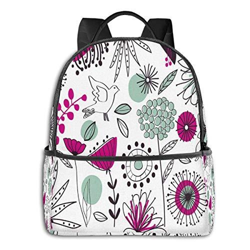 Schultasche Double Black Rucksäcke, Casual Wandern Travel Daypack 12 \'5\' 14,5 \'LWH Doodle Blumen und Tiere Cartoon-Stil Zeichnung Frühling Thema