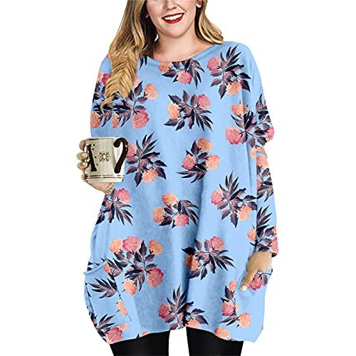 Vestido Suelto hasta la Rodilla para Mujer Primavera Otoño Invierno Manga Larga Cuello Redondo Sudadera con Capucha Estampado 3D Camiseta Informal Tops para el hogar XL