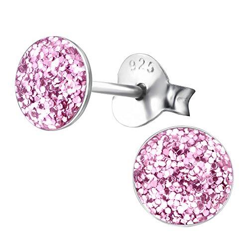 Laimons Orecchini a pressione da donna gioielli da donna Forma a disco Rosa Con brillantini Argento Sterling 925