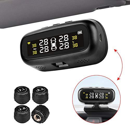 Jansite reifendruck kontrollsystem Auto TPMS Reifendruck Kontrollsystem Solar Panel USB Kabel mit 4 Sensoren, 6 Alarm LCD Display Temperatur Anzeige für Auto, SUV, KFZ
