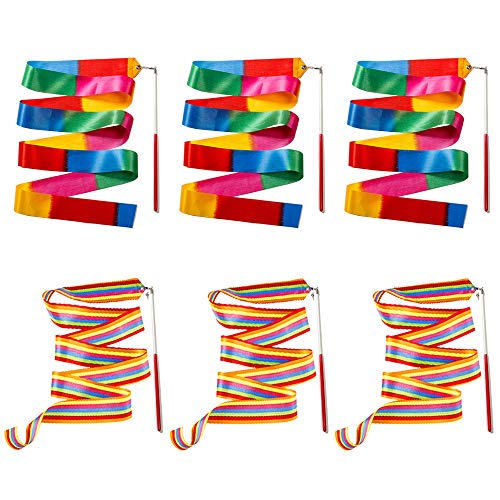 Ceqiny 6 Stück Rhythmic Gymnastics Bänder 2m Tanzbänder Streamer Gymnastik Bänder Rhythmikband Schwungband mit Stab Tanz Bänder für Kunst Tanz Ballett Twirling