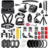 Navitech 60-in-1 Action Camera Accessories Combo Kit with EVA Case Compatible with The Vivitar DVR 936HD LifeCam Air | Vivitar DVR798HD LifeCam? Air