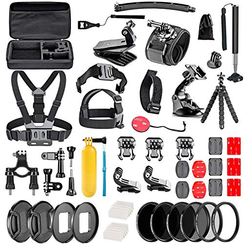 Navitech 60-in-1 Action Camera Accessories Combo Kit with EVA Case Compatible with The Bekhic V90 4K HD WiFi Sports Action Camera