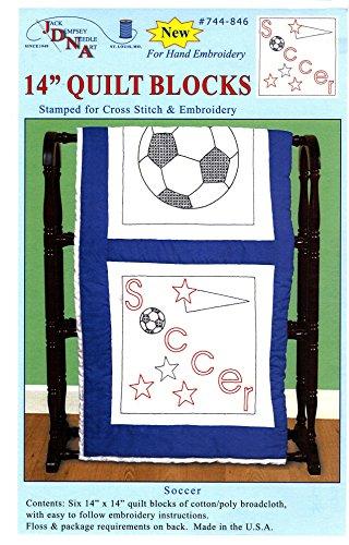 Jack Dempsey estampillé Blocs de Courtepointe, thème Football Blanc (Lot de 6)
