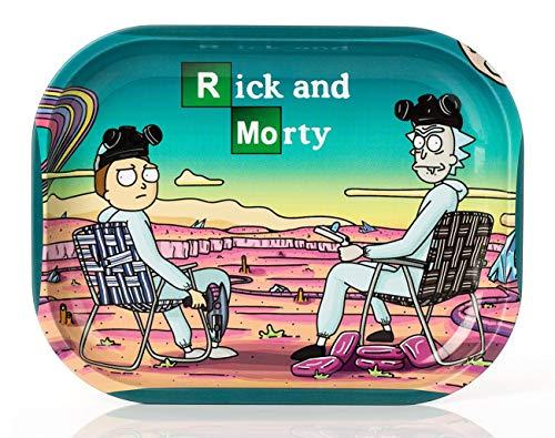 """Wepeel Mini-Tablett zum Rollen von Zigaretten, aus Metall, mit Motiv """"Rick and Morty"""" (18 x 14 cm) Modell 2:"""