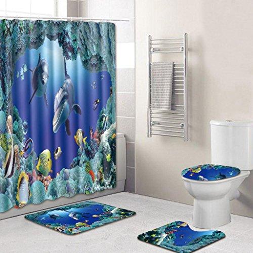 KKY-ENTER Creative Mode 3D Stereo Seabed Shark Motif Salle de bains Étanche Rideau de Douche Salle De Bains Toilette Trois pièces Set Salle de bain Tapis antidérapant (Rideau de douche + Tapis de bain + Tapis de piédestal + Tapis de siège de toilette) ( taille : B )