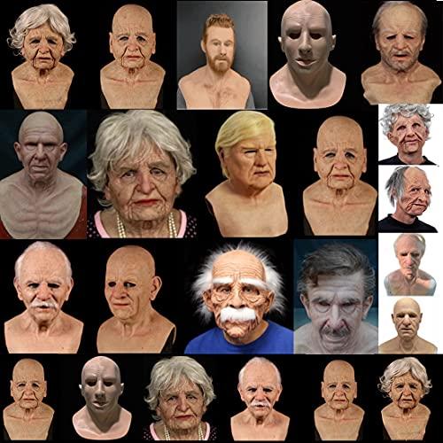 Máscara de Halloween, Máscara de hombre viejo, Máscara de arrugas humanas, Máscara de terror espeluznante, Decoración de Halloween, Cosplay Casa Embrujada Props