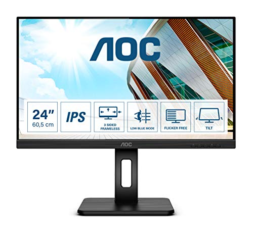 AOC Q24P2Q - 24 Zoll QHD Monitor, höhenverstellbar (2560x1440, 75 Hz, VGA, HDMI, DisplayPort, USB Hub) schwarz