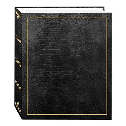 Pioneer álbumes de Fotos, 100páginas de Piel sintética con Sello Dorado Cover 3-Ring álbum de magnético, Negro, 1