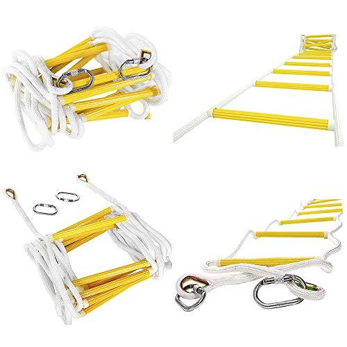 ISOP Escalera de Emergencia Contra Incendios de 2,5 m Capacidad de Peso de Hasta 900 kg Compacta y Ligera Reutilizable 8 pies Escalera de Seguridad Resistente a las Llamas con Ganchos