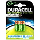 Duracell Active Charge Battery Long-life Rechargeable 800mAh AAA Size 1.2V Ref 75043988 [Pack 4]