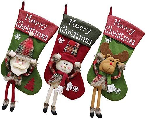 Llp 3pcs Media de la Navidad, tamaño Grande de Santa muñeco de...