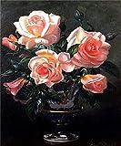 N / A ysyxin Pintura Digital de bricolajeFlor Rosa Niños Adultos Principiantes Lienzo Pintura Kit Mural Arte Trabajo pintura-16 x 20 Pulgadas sin Marco