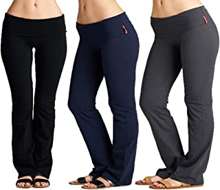 EAG 3 Pack Fold Over Waistband Stretchy Cotton Active wear Yoga Pants