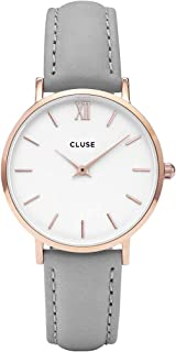 CLUSE Minuit Rose Gold White Grey CL30002 Women's Watch 33mm Leather Strap Minimalistic Design Casual Dress Japanese Quartz Elegant Timepiece