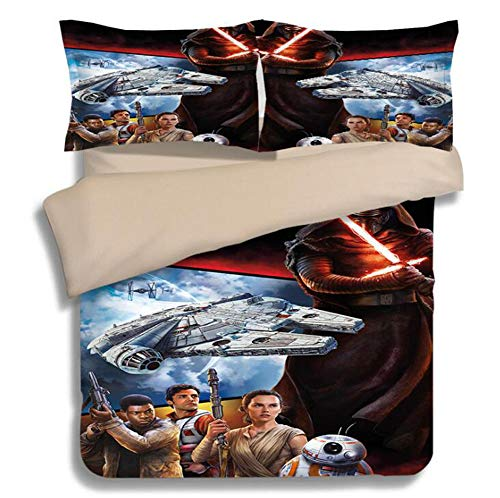 KJGLXD Duvet Cover Set Three-Piece Star Wars 3D Printed Linen Set, Digital Printed Quilt Cover,Decorative Bedding Set with 2 Pillowcase,E,AU Queen