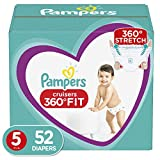 Diapers Size 5, 52 Count - Pampers Pull On Cruisers 360˚ Fit Disposable Baby Diapers with Stretchy Waistband, Super Pack