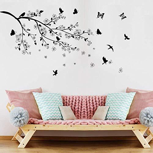 Ramas Pájaros Mariposa Pegatinas De Pared Vinilo Diy Tatuajes De Pared Para Sala De Estar Dormitorio Niños Habitación Decoración Murales 60X90Cm
