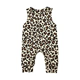 CIPOGL Babykleidung Säuglingsbaby Jungen Mädchen Süß Dinosaurier Drucken Ärmellos Strampler Jumpsuits Sommer Baby Spielanzug Bodys Einteiler Overall Baby Kleidung (Leopard, 0-6M)