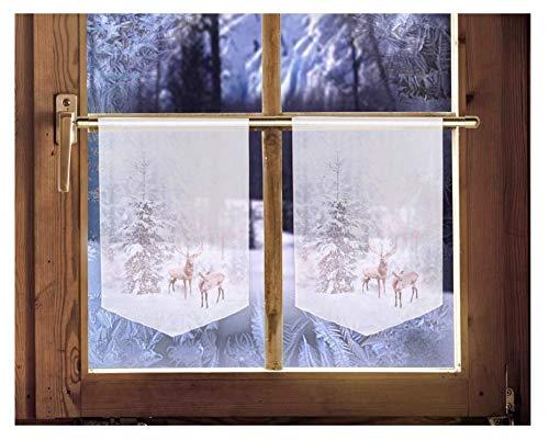 2er Set Scheibenhänger Winter Weihnachtsgardine winterliche Landhausdeko