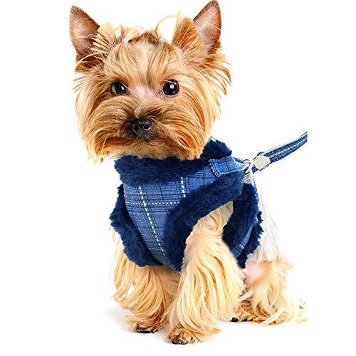 Yajun Cálido Conjunto de Arnés y Correa para Perros Chaleco de Invierno para Cachorros de Gato Chaqueta Acolchada de Lana Suave para Mascotas Perros Pequeños y Medianos Abrigo,Blue,L