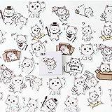 BLOUR 45 unids/Caja Kawaii Fresa Pegatinas Etiqueta Diario Papel Adhesivo escama japonés Lindo Gato Pegatina planificador Decorativo Scrapbooking
