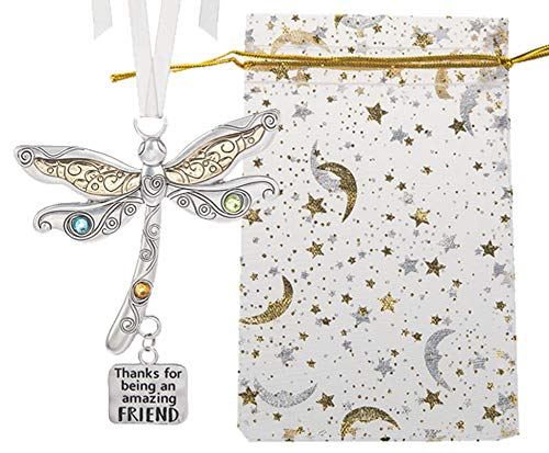 Ganz U.S.A., LLC 'Thanks for Being an Amazing Friend Dragonfly Charm Gift for Friends Joyful Everyday Ornament Gift Ornament, Hanging Home Decor| Presented in a Festive Bag & White Gift Box