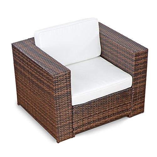 XINRO® erweiterbares 38tlg. Lounge Möbel Set Ecksofa Polyrattan - braun-Mix - Gartenmöbel Sitzgruppe Garnitur Loungemöbel XXXL - inkl. Lounge Ecke + Sessel + Hocker + Tisch + Kissen - 4