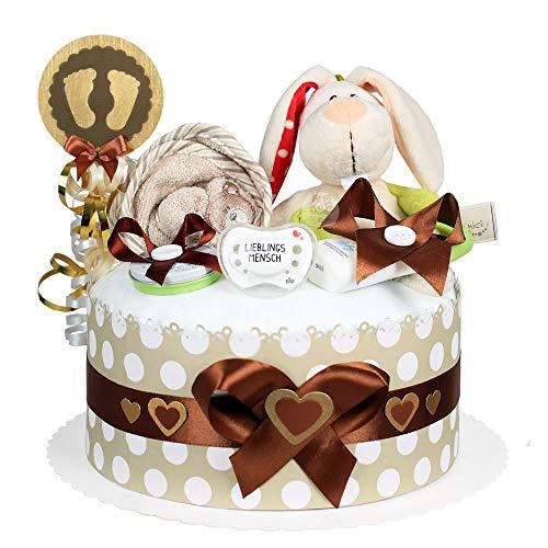 MomsStory - Windeltorte neutral | Hase | Baby-Geschenk zur Geburt Taufe Babyshower | 1 Stöckig (Braun-Beige) Baby-Boy & Baby-Girl (Unisex) mit Plüschtier Schnuller & mehr